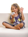 Child girl having fun smartphone Stock Image