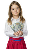 Child girl hold money in hands isolated. Child girl holding money in hands isolated.Kid female in white shirt with dollars.Financial bank account concept Stock Photography