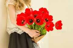 Child girl holding bouquet of red tulips flowers. Gift, surprise, spring family holiday stock photos
