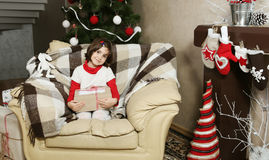 Child Girl Holding Christmas Gift Stock Photography