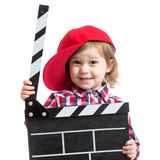 Child girl holding clapper board in hands isolated Royalty Free Stock Photos