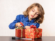 Child girl homemade present Christmas Stock Image