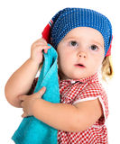 Child girl housewife cleaner Stock Photos