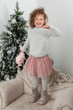Child girl jump near christmas tree Stock Image