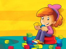 Child - girl in the kindergarten playing blocks Stock Photography