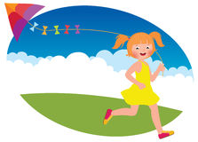 Child girl with a kite runs Stock Photography