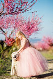 Child girl with labrador dog in blooming garden Royalty Free Stock Images