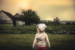 Child looking into the distance on rural field in countryside concept childhood. Child girl looking into the distance on rural field in countryside concept Royalty Free Stock Photos