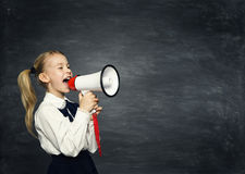 Child Girl Megaphone Announcement, School Kid Announce, Blackboard. Child Girl Megaphone Announcement, School Kid Announce Scream Speaker over Blackboard stock photography