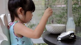 Child, Girl, Mixing Cereal with Milk and Eat for Breakfast stock footage