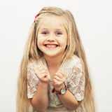 Child girl model portret in fashion style. Stock Photo