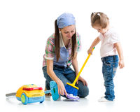 Child girl and mom cleaning room. Isolated Royalty Free Stock Image