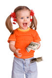 Child girl with money dollar banknote. Royalty Free Stock Photos