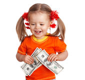 Child girl with money dollar banknote. Royalty Free Stock Photo