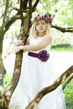 Child girl outdoors - art fashion portrait Royalty Free Stock Images