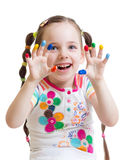 Child girl with painted hands Stock Photography