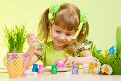 Child Girl Painting Easter Eggs Royalty Free Stock Photography