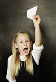 Child girl with paper plane Royalty Free Stock Images