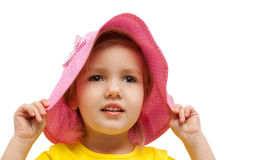Child girl pink hat look  fashion portrait Stock Photo