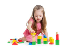 Child girl playing with block toys Royalty Free Stock Photography