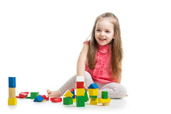 Child girl playing with block toys Royalty Free Stock Photos