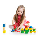 Child girl playing with building block toys Royalty Free Stock Photography