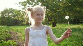 Child girl playing with the dandelion flower. At the rays of setting sun stock video footage
