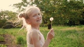 Child girl playing with the dandelion flower. At the rays of setting sun stock footage