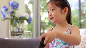 Child, Girl, Playing Game Console stock footage