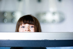 Child girl plays in a bathtub Stock Photography