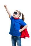 Child girl plays superhero Royalty Free Stock Photos