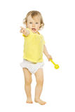Child girl pointing finger hand forward. Kid white isolated stock photo