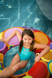 Child girl pool Stock Images