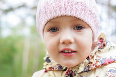 Child girl portrait. Close-up outdoor Stock Photo