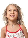 Child girl portrait looking up Royalty Free Stock Photos