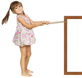 Child girl pulling frame Stock Images