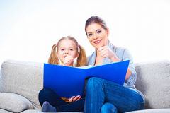 Child girl reading book Royalty Free Stock Photography
