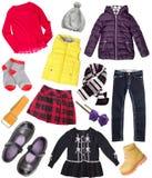 Child girl's fashion sleeve set collage isolated. Stock Photos