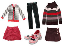 Child girl's modern autumn clothes isolated. Stock Image