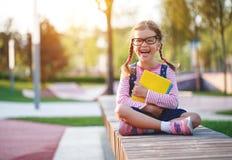 Child girl schoolgirl elementary school student stock image