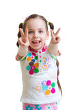 Child girl showing victory hand sign on white Stock Photography
