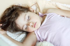 Child Girl Sleeping on Back Stock Photo