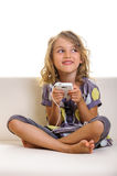 Child girl smart phone Royalty Free Stock Photo