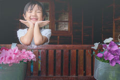 Child girl smiling brightly. Asian child girl smiling brightly with happiness Stock Photography