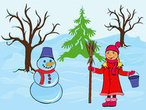 Child girl and snowman in wintertime. Child girl and snowman among the trees and snow drifts, hand drawing cartoon vector illustration Royalty Free Stock Photography