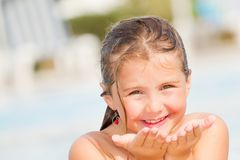 Child girl in sunny days Royalty Free Stock Image