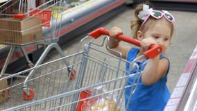 Child girl in the supermarket buys food with trolley for products. Baby shopping. Child girl in the supermarket buys food with trolley for products. Baby stock video