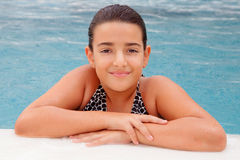 Child girl swimming in the pool Royalty Free Stock Image