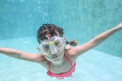 Child girl swimming underwater Stock Image