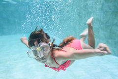 Child girl swimming underwater Royalty Free Stock Photography